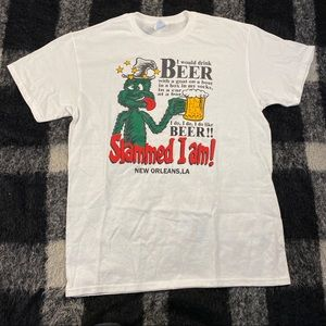 Vtg 90s Y2K beer drinking graphic tee md